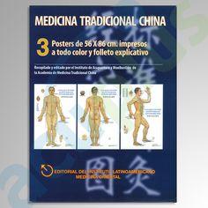 POSTER DE ACUPUNTURA 3 PZAS 56×86 CM  3 Láminas de 58 x 86 cm (frontal, dorsal y lateral). Figura humana a color con los 14 meridianos y sus puntos acupunturales.