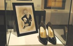 """Marilyn's shoes from """"Some Like It Hot"""" - Ted Stampfer exhibition."""