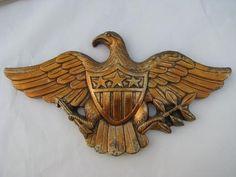 American eagle, vintage federal patriotic wall plaque, chalkware w/ antique gold