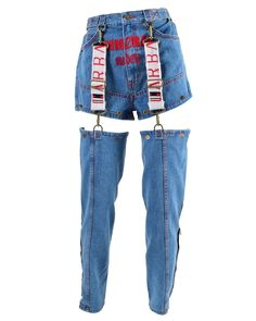 """NO stretchy fake jazzz but they super forgiving doe. Embroidery """"Immoral Models"""" on the front. Also features detachable legs with adjustable waist and front Kpop Fashion Outfits, Stage Outfits, Edgy Outfits, Grunge Outfits, Denim Fashion, Look Fashion, Korean Fashion, Fashion Design, Fashion Trends"""
