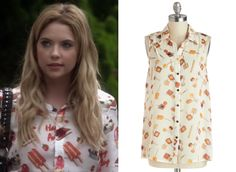 "In ""Face Time"" Hanna wore this amazing shirt printed with ice creams, lollies and strawberries and emblazoned with the slogan ""Happy Ashley"". Tragically it's designer, expensive and über inaccessible but here's a much cheaper alternative that you could get your hands on!"