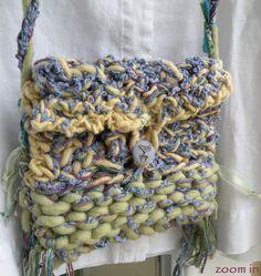Purse medium handbag, Bohemian Bag of wool ribbon, lined hippie gypsy boho faery small enchanted forest fairy pouch purple green i749