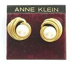 ANNE KLEIN Golden Swirl & Faux Pearl Pierced Earrings - a classic look - http://designerjewelrygalleria.com/anne-klein-jewelry/anne-klein-earrings/anne-klein-golden-swirl-faux-pearl-pierced-earrings-a-classic-look/