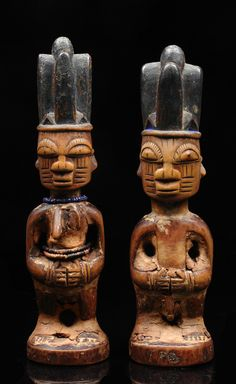 "Africa | Pair of twin figures ""ere ibeji"" from the Yoruba people from Egbe area of Nigeria 