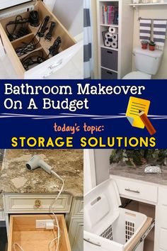 Budget-Friendly Bathroom Makeover Ideas: Smart Storage Solutions For Small Bathrooms Bathroom Inspir Creative Bathroom Storage Ideas, Diy Storage Projects, Bathroom Storage Solutions, Small Bathroom Storage, Storage Spaces, Bathroom Organization, Organization Ideas, Bathroom Ideas, Diy Projects