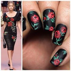 Floral Nails Inspired by Dolce & Gabbana .