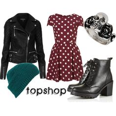 Topshop Outfit 1: Biker Polka Dot Skater Dress by sianvictoria on Polyvore