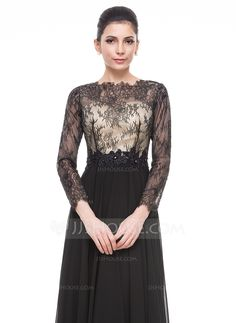 A-Line/Princess Scoop Neck Floor-Length Beading Sequins Zipper Up Sleeves Long Sleeves No Black Winter Spring Fall General Plus Chiffon Lace Evening Dress