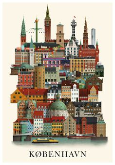 The series of city prints signed by Martin Schwartz pay homage to the variety of buildings that can be found in every city. For each design, the artist invests Graphic Art Prints, Poster Prints, Poster Poster, City Illustration, New York Art, World Cities, City Art, Vintage Travel Posters, Cartography