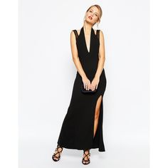 TFNC Halterneck Maxi Dress With Mesh Panel Sides ($24) ❤ liked on Polyvore featuring dresses, black, halter top, maxi dress, bodycon maxi dress, halter dress and sheer maxi dress