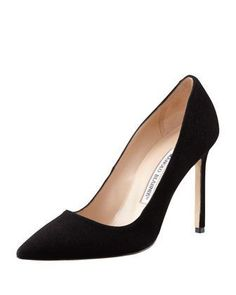 BB Suede 115mm Pump, Black (Made to Order) by Manolo Blahnik at Bergdorf Goodman.