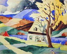 Saint-Urbain (c.1924) - Marc-Aurèle Fortin Watercolor Landscape, Landscape Paintings, Landscapes, Canadian Painters, Canadian Artists, Still Life Flowers, Colourful Art, National Art, Canvases