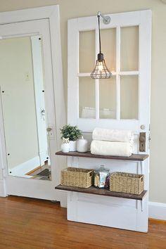 DIY Industrial Pendant light hanger - lizmarieblog.com. Door as...light, shelves/side table!