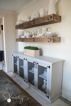 Free Woodworking Plans DIY Sideboard by Love the floating shelves above it as well! Dining Room Decor, Decor, Furniture, Home Kitchens, Diy Sideboard, Home Diy, Furniture Projects, Diy Furniture, Home Decor