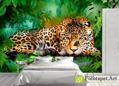 Photo wallpaper, Animals - Jaguar - All wallpapers shown on the site are printed on a firm order, according to the customer's size, the chosen image and the desired texture. Wallpaper Please, Photo Wallpaper, Jaguar, Wall Murals, Latex, Canvas, Moldova, Retail Space, Prints