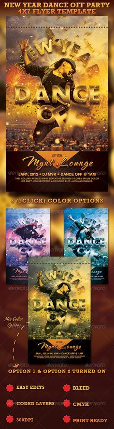 This Dance Off Flyer Template is great for any New Year Dance/Party. The download include one Photoshop Flyer, the layered file is color coded and organized in folders for easy editing. 3 (1 click ) color options also included. Other colors can be created by turning on multiple color options. Font Download links available in Read Me File. - $6.00