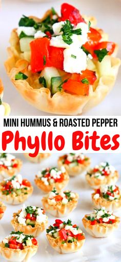 These easy and addictive Mini Hummus Roasted Pepper Phyllo Bites are perfect for entertaining or healthy snacking 67 calories and 2 Weight Watcher Freestyle SP Hors D Oeuvres Appetizers Finger Foods Party Food Cups Entertaining Phyllo Appetizers, Finger Food Appetizers, Appetizers For Party, Appetizer Recipes, Healthy Finger Foods, Party Finger Foods, Healthy Snacks, Simple Finger Foods, Cheddar