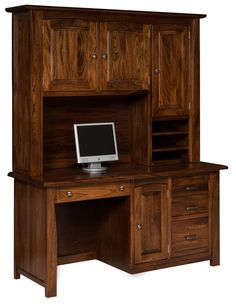 Amish Large Mission Computer Desk With Hutch Top | Desks, Large Computer  Desk And Mission Style Furniture