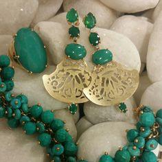 Brinco rendado c/ verde turquesa...anel e pulseira..... TÂNIA SEMI-JÓIAS..... Enviamos p/ td Brasil.....