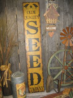 Primitive wood seed sign