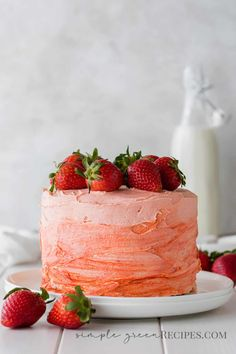This Vegan Gluten Free Strawberry Cake is a classic turned into vegan and gluten free. It can't be moister and fluffier and it's not at all overly sweet. Both the cake and the buttercream are made with fresh strawberries. #veganstrawberrycake #Glutenfreestrawberrycake #Strawberrycake Delicious Cake Recipes, Best Cake Recipes, Vegan Dessert Recipes, Cupcake Recipes, Yummy Cakes, Sweet Recipes, Cupcake Cakes, Vegan Gluten Free Desserts, Healthy Cake Recipes