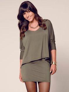 3/4 sleeve dress women overlap effect