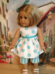 American Girl Doll Clothes  Turquoise Stipes by NanaDorysCreations, $12.99