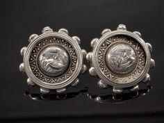 Victorian Silver Earrings from 1881 Antique by BelmontandBellamy