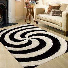 """AllStar Rugs Salt Pepper Shaggy Area Rug with 3D Spiral Design Contemporary Formal Casual Hand Tufted. Size: 7'6"""" x 10'5"""""""