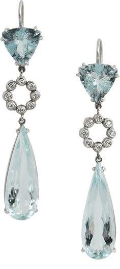 Q JEWELRY DESIGN Aquamarine Earrings $3,545.00 thestylecure.com