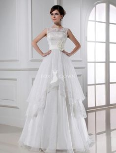 sleeveless boat neck a-line keyhole back wedding dress with tiered skirt and flower sash