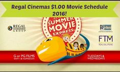 Regal Cinemas $1.00 Movie Schedule 2016 Is HERE! Let's do this @sarah  @alicianygard @kiwi4141