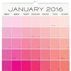 2015-2016 Paper Source Paint Chip Calendar