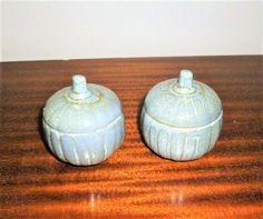 $5      Vintage 1970s Grey Pumpkin Ceramic Salt and Pepper Shakers / Large Retro Shakers by V1NTA6EJO