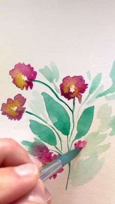 Watercolor Painting Wild Flowers