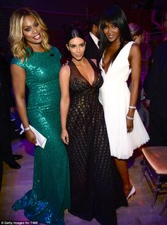 Dwarfed: Kim looked super petite next to amazonian Laverne Cox and Naomi Campbell