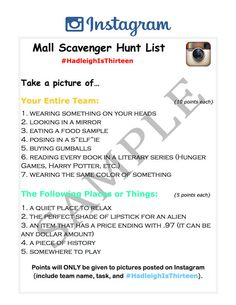 Mall Scavenger Hunt Guide for an Instagram by HipDIYPartyPlans #scavengerhunt #mallscavengerhunt