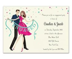 Engaged Banner Wedding Shower Invitation