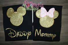 Daddy and Mommy Mickey and Minnie Shirts Set by DivaSophiaBoutique