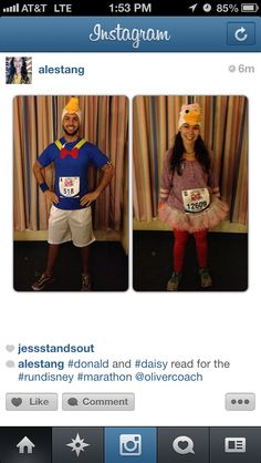 Disney marathon Donald and daisy costumes. Hand made for our special day.