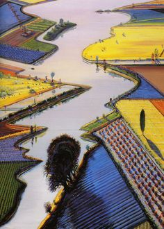 Wayne Thiebaud River and Farms 1996 oil on canvas 60 x 48 in. at the Whitney Museum of American Art COLOR! Urban Landscape, Landscape Art, Landscape Paintings, Richard Diebenkorn, Mondrian Kunst, Wayne Thiebaud Paintings, Pop Art, Principles Of Art, Whitney Museum