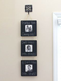 """Chalkboard Frame Wall Hanging - """"I made this simple photo wall hanging with unfinished frames at Michael's for $1 each,"""" says Tiffany Bird of Simply Modern Mom. """"We have it hanging on a hook near our front door so everyone can see it on their way out!"""""""