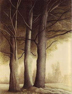 Leon Spilliaert, Three Trees, 1944 (watercolor, india ink)