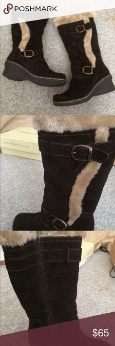 Faux Fur and Suede Boots Perfect winter boots to keep your tootsies warm- inside is lined with tan faux fur. Outside is dark brown suede. Worn once and in excellent condition. bareTraps Shoes Winter & Rain Boots