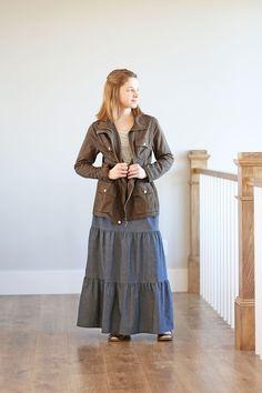 Girls Chambray Denim Tiered Long Skirt