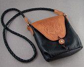 Celtic Tooled Design Soft Black Leather Purse