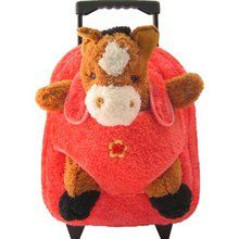 Brown Horse on Pink Plush Rolling Backpack. Available at OurPamperedHome.com