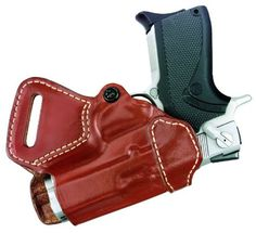 PREMIUM BROWN LEATHER DUAL 2-GUN OWB HOLSTER SMALL OF BACK SOB S/&W Shield 9 40