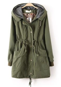 Army Green Plain Drawstring Cotton Blend Padded Coat | Army green ...