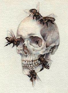 Watercolour Skull painting created by Ukrainian artist Nikolay Tolmachev Arte Com Grey's Anatomy, Anatomy Art, Anatomy Tattoo, Skull Anatomy, Art And Illustration, Drawing Sketches, Art Drawings, Skeleton Drawings, Skeleton Tattoos